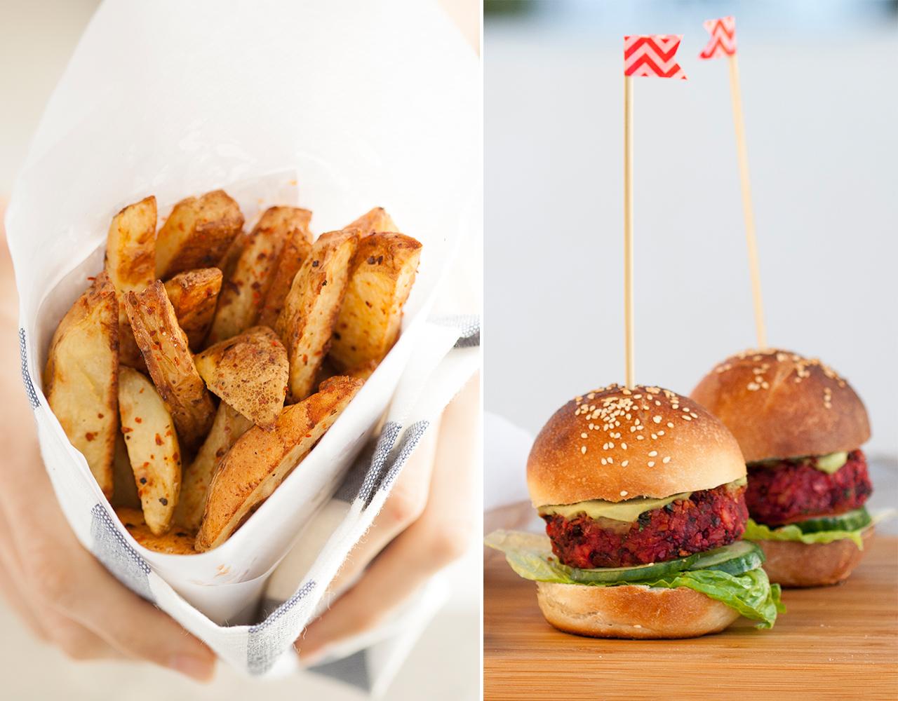 mini burgery z buraków i domowe frytki