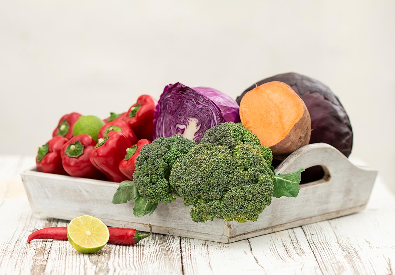 składniki na tęczowe warzywa z woka