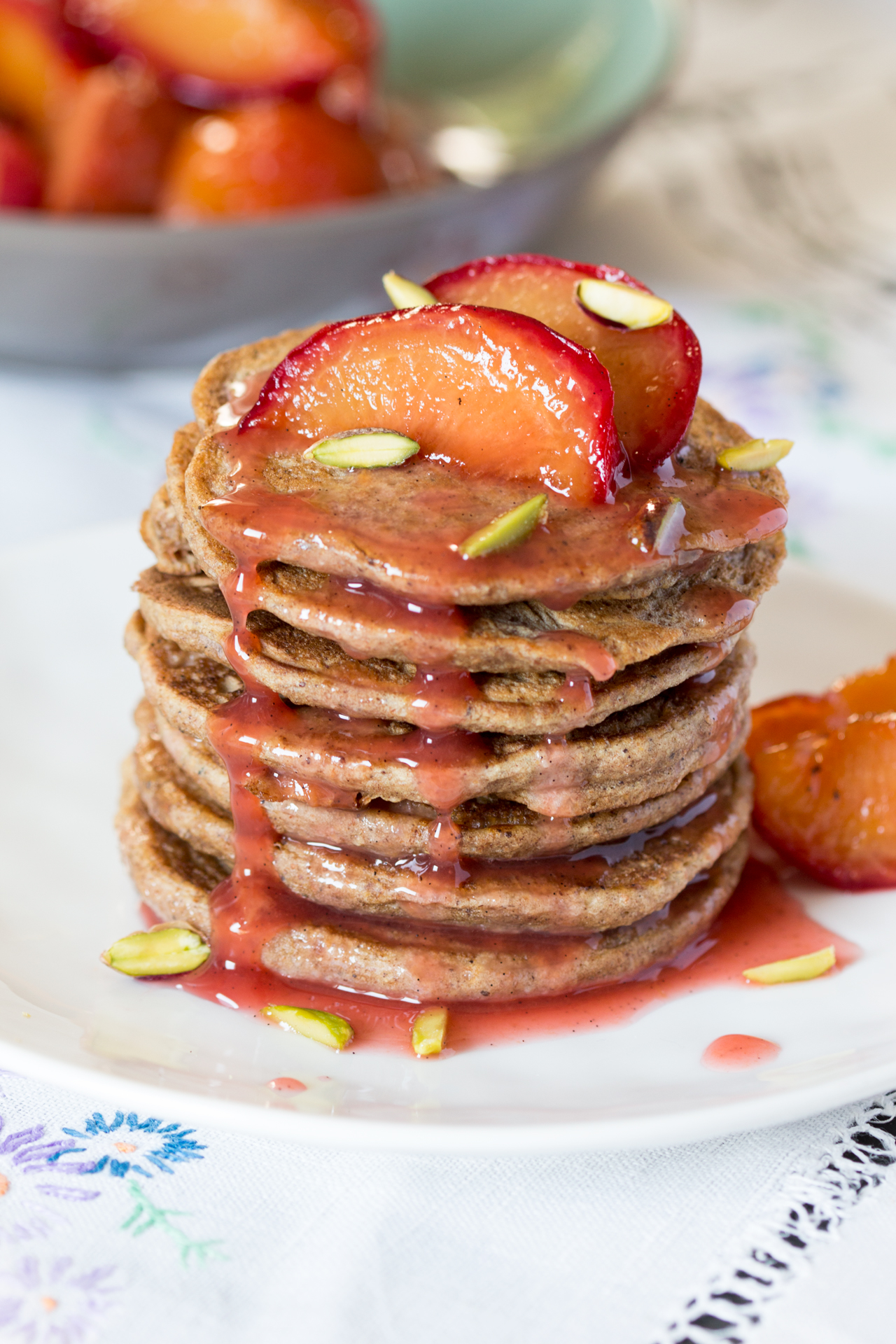 cinnamon pancakes with spiced plums stack