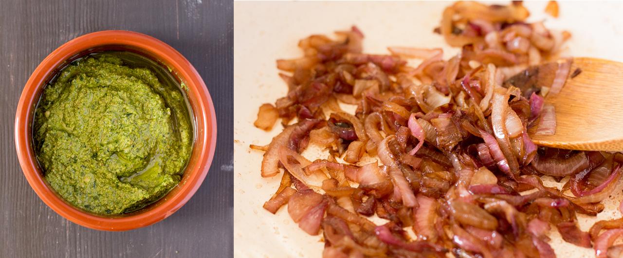 pesto z rukoli i karmelizowana cebula