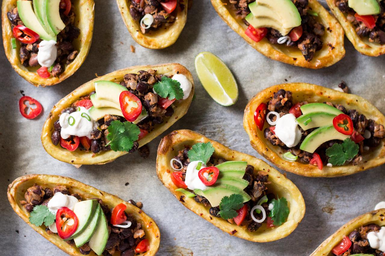 meksykańskie łódki z ziemniaków z góry zbliżenie