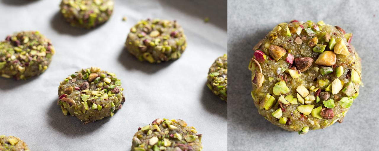 wegańskie makaroniki z pistacjami surowe