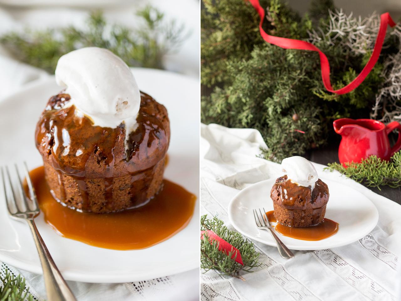 wegańskie ciasto daktylowe z toffee i lodami waniliowymi duo