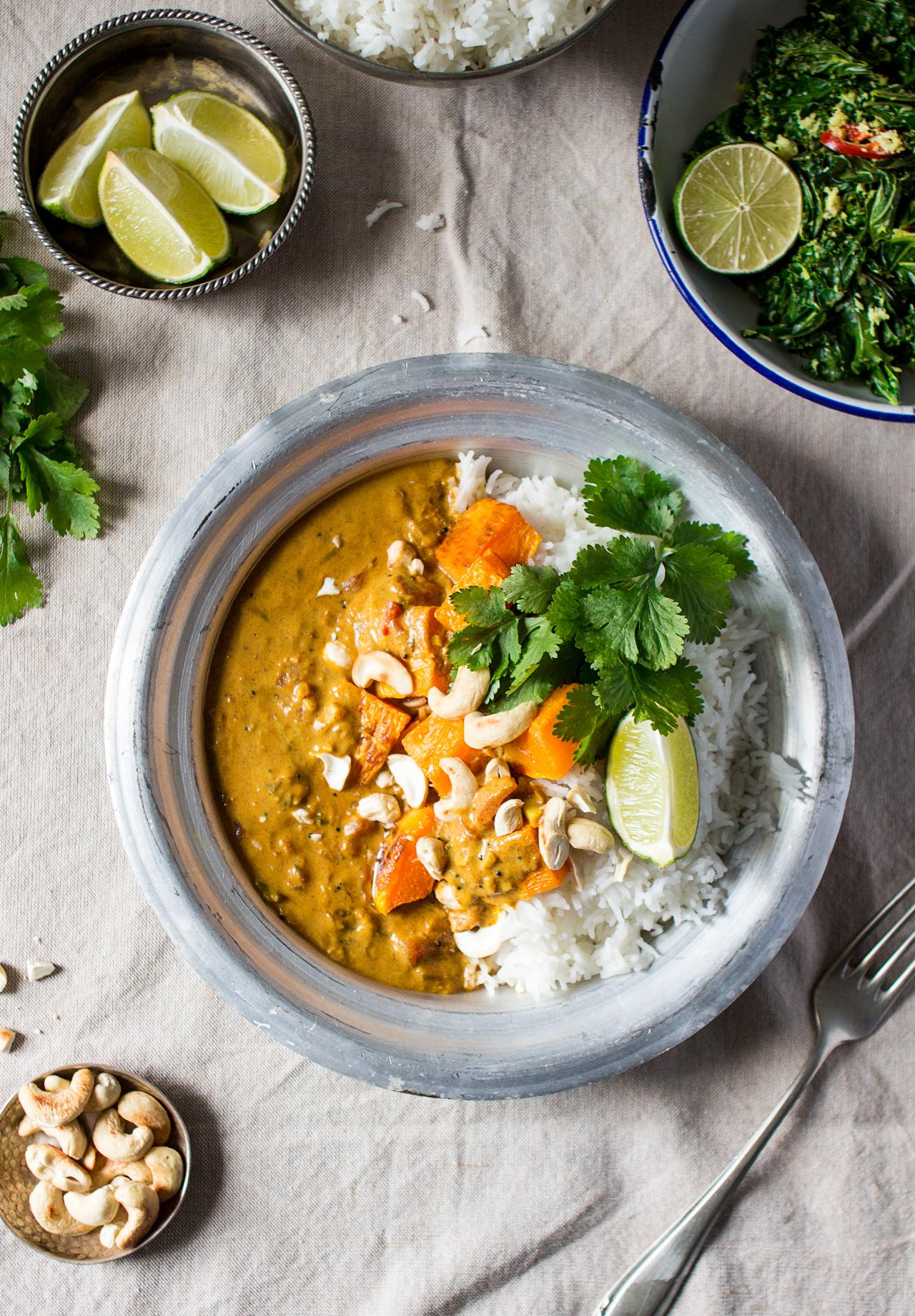 curry z dynią w sosie kokosowym z góry