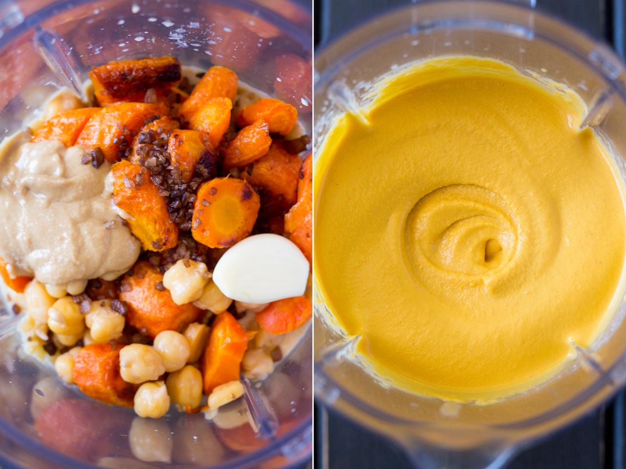 hummus marchewkowy przygotowanie